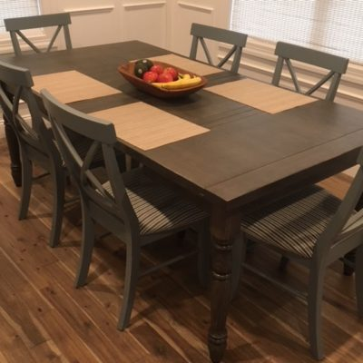 Ridgewood - Whitewood X-back chairs in an aged Smoke finish to complement our Keystone Canterbury table in red oak with an antiquity finish package.